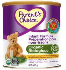 Parent's Choice Milk Based Organic Infant Formula with Omega-3 and Omega-6, 658g