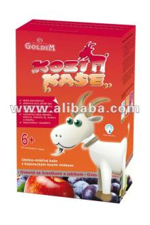 Baby oat cereal with goat milk formula, plum and apple