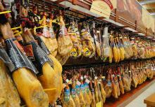 Jamon Serrano Bodega  de JABUGO  - serrano ham  cellar - Spanish ham