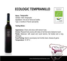 Ecologic red wine tempranillo