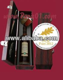Luxural Handmade Gift: French Duck Foie Gras, Armagnac brendy and Laguiole Knife in Wood Box