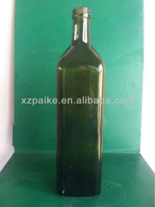 High quality dark Green Glass Olive Oil Bottles with aluminum cap