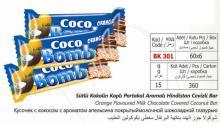 Coco Bomb orange flavoured milk chocolate covered coconut bar