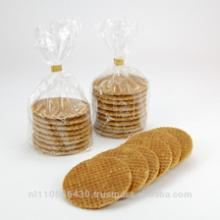 Syrup waffle, traditional Dutch syrup wafers.