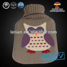 cheap EN71 1000ml pvc hot water bottle cover with a cute owl grey colour