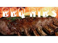 Bn1468  Bbq  Roasted Black Pepper Sauce Beef Ribs Grill Delicious Banner Sign
