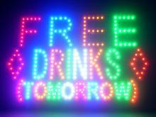 60059 Free Drinks Tomorrow Tiki Bar Happy Hour Daiquiri Champagne Cool LED Sign