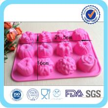 pink flower shape silicone chocolate moulds with FDA/LFGB