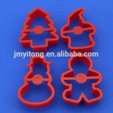 2014 China DIY 4 PCS Christmas snowman plastic cookie cutter/6 PCS cookie press cake decoration set