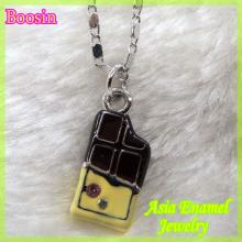 Favorite enamel chocolate bar charm necklace #16388