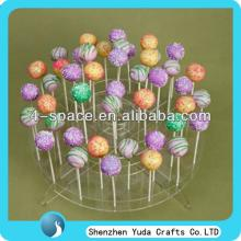 round 2-tier lollipop holder promotional plastic lollipop stick stand clear loolipop display rack lu