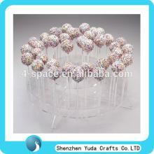 Acrylic plexiglass round hole lollipop display shelf Transparent round desktop commodity display sta