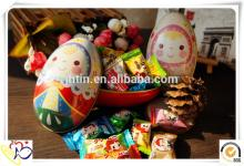 Christmas decorative prince & princess egg shape candy tin box