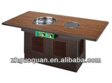 Wood   color   Wood  countertop Smokeless barbecue Electric grill