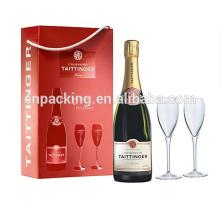 Paper packaging champagne bottle gift box with flutes