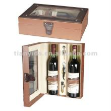 Wooden   Wine   Bottle   Boxes  With PU Leather Hasp