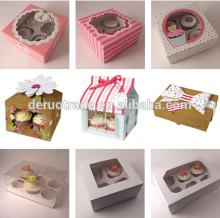 China Supplier custom paper cupcake  box es and insert wholesale, Mini  house  shaped cupcake  box  packag