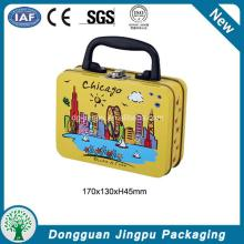 Portable eco-friendly tin lunch box with lock and key
