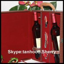 PU leather  wine  shipping boxes ,red  wine  box , wood   wine  box made in China