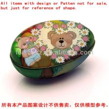 Easter egg-shaped Tin box container