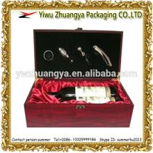 High Class Wooden Red Wine Glasses Box for 2 Bottles