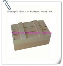 Champagne flutes in handmade wooden box