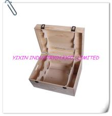 2014 cheap pine wooden red wine case for 6 bottles YIXING1066