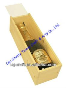 Wooden Wine or Champagne Box Acrylic Lid 1x bottle