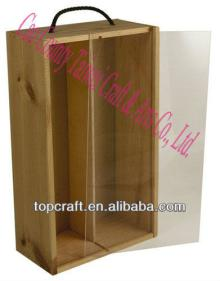 Chinese Cheap Wooden Wine or Champagne Box Acrylic Lid 2x bottle for sale