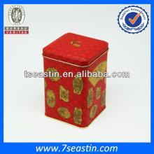 Beautiful tea  tin  box with double lid  tin   can   manufacturer