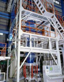 Three-layer co-extruding plastic film blowing machine