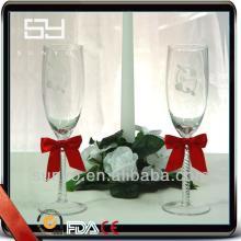 High Quality Handmade Decorative Champagne Flute Glass for Wedding
