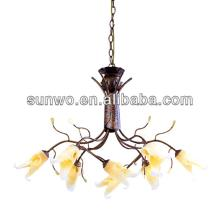 Yellow flower warm light red wine color pendant lamp