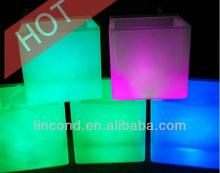LED illuminated rectangular champagne plastic cheap party ice bucket