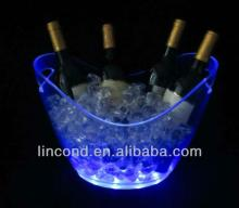 8L led colorful plastic beer ice bucket for chilling champagne