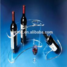 Clear high quality handmade acrylic red wine rack wholesale