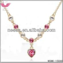 F20517 Dili crystal necklace - I love (mei red + champagne gold)