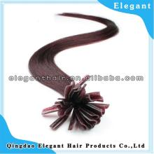 queen hair super quality silk straght red wine keratin U-tip hair extension,nail hair extension ,pre