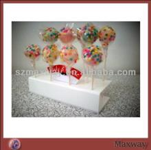 2014 Hot Selling Large Lovely Milk White Plastic/Acrylic Lollipop Cake Pop Display Stand