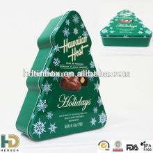 Christmas Tree shaped tin box for cookie, tin can for food