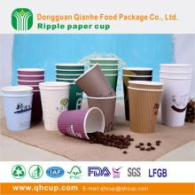 China wholesale factory logo print custom disposable ripple double wall insulated paper cup for coff