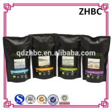 Custom printing black coffee bean packaging bag