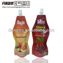 plastic food packaging stand up spouted pouch for juice packaging