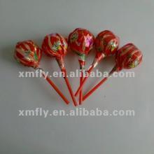 Big bom lollipop with bubble gum