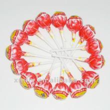 Fruit flavour big lollipop with bubble gum