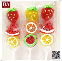 Fruit shapes Halal pectin sweets candy stick jelly candy lollipop