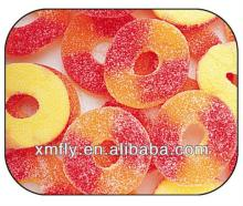 Peach colour rings shape sugar coated fruit vitamin chewing halal gummy candy ring