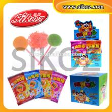 SIKOZ Brand good flavor fruity  round   stick  popping lollipop candy with sour powder