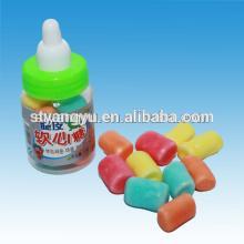 Sour crispy candy coated marshmallow in nursing bottle