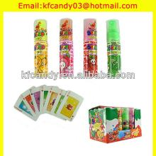 30ml assorted fruit flavor spray candy with playing cards/fruit spray candy/sour spray candy